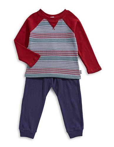Splendid Two-Piece Stripe Raglan Top & Pants Set-RED-3-6 Months