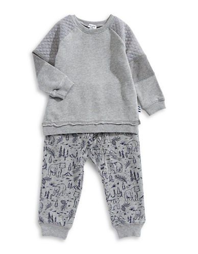 Splendid Two-Piece Mixed Sweatshirt & Pants Set-GREY-3-6 Months