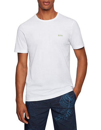 Boss Green Regular-Fit Rubberized Logo Tee-WHITE-X-Large