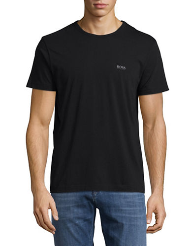 Boss Green Regular-Fit Rubberized Logo Tee-BLACK-Large