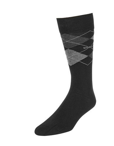 Boss Mens Argyle Dress Socks-BLACK-7-12