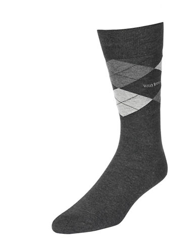 Boss Mens Argyle Dress Socks-CHARCOAL-7-12