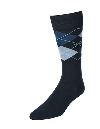 Boss Mens Argyle Dress Socks-DARK BLUE-7-12