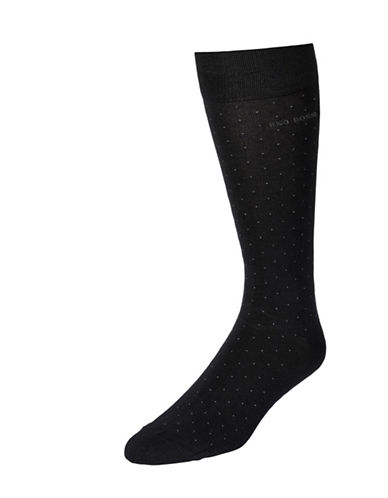 Boss Dotted Dress Socks-BLACK-7-12
