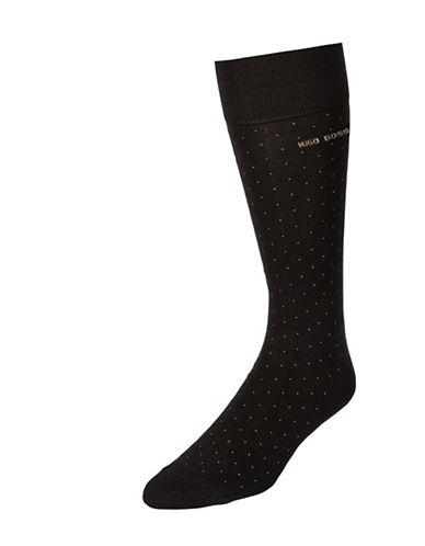 Boss Dotted Dress Socks-DARK BROWN-7-12