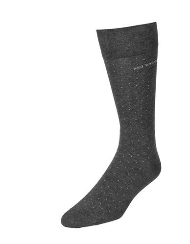 Boss Dotted Dress Socks-CHARCOAL-7-12