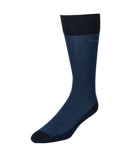 Boss Mens Subtle Texture Dress Socks-DARK BLUE-7-12
