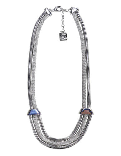 Anne Klein Mesh And Chain Necklace-SILVER-One Size