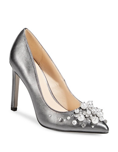 Nine West Taylin Pointed Toe Pumps-SILVER-7.5