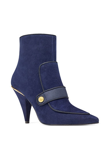 Nine West Military Suede Booties-NAVY-9