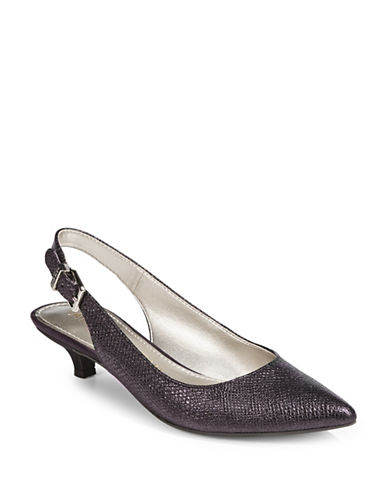 Anne Klein Expert Point Toe Slingback Pumps-PURPLE-9