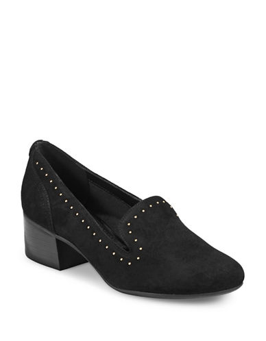 Anne Klein Jacinda Studded Leather Block Pumps-BLACK-6.5