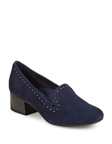 Anne Klein Jacinda Studded Leather Block Pumps-NAVY-8