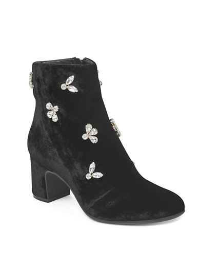 Anne Klein Crystal Embellished Velvet Booties-BLACK VELVET-10