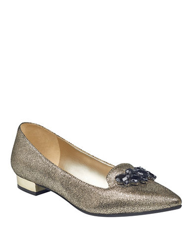 Anne Klein Metallic Flats with Reflective Heel-GOLD-6.5