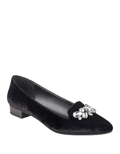 Anne Klein Point Toe Jewel Velvet Loafers-BLACK-9.5