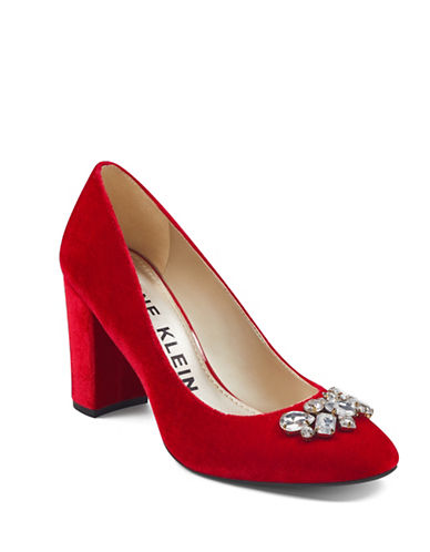 Anne Klein Crystal Embellished Velvet Pumps-RED VELVET-8.5
