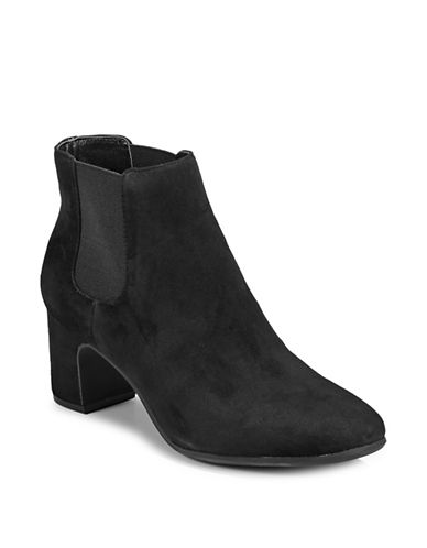 Anne Klein Square-Toe Suede Heeled Booties-BLACK-6