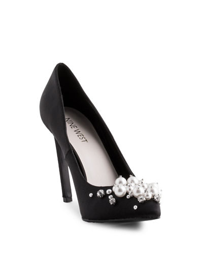 Nine West Taylin Satin Pumps-BLACK SATIN-9.5