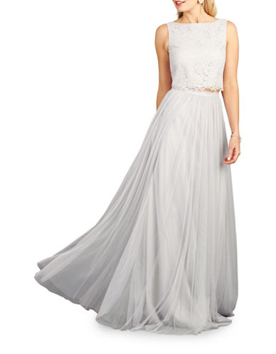 Donna Morgan Alexis Two-Piece Lace and Tulle Gown-PLATINUM-0