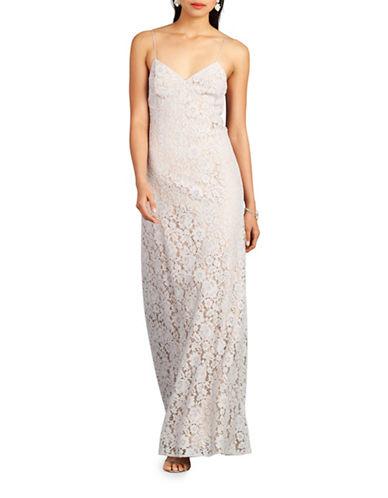 Donna Morgan Gia Spaghetti Strap Lace Gown-PLATINUM-8