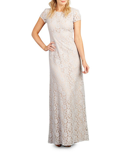 Donna Morgan Alice Cap Sleeve Lace Gown-PLATINUM-2