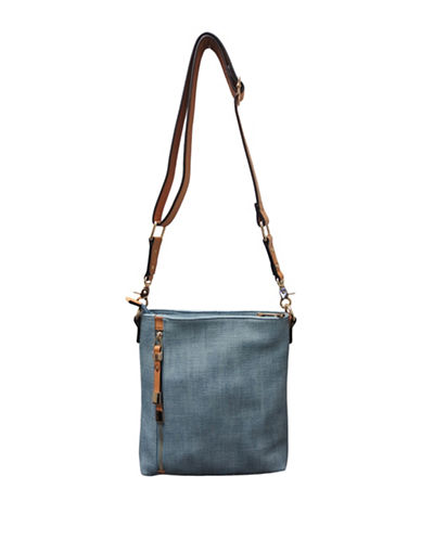 Sondra Roberts Squared North South Crossbody Bag-BLUE-One Size