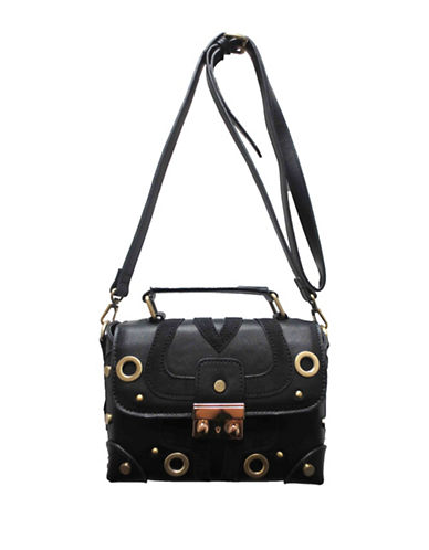 Sondra Roberts Squared Grommeted Crossbody Bag-BLACK-One Size