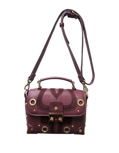 Sondra Roberts Squared Grommeted Crossbody Bag-BURGUNDY-One Size