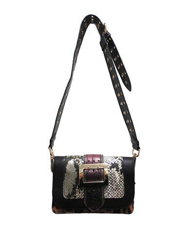 Sondra Roberts Squared Mixed Media Crossbody Bag-GREY-One Size