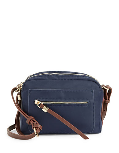 Sondra Roberts Squared Camera Bag-NAVY/BROWN-One Size