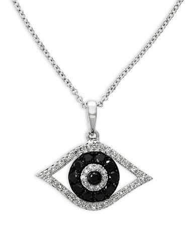Effy 14K White Gold 0.34TCW Diamond and Black Diamond Eye Pendant Necklace-BLACK-One Size