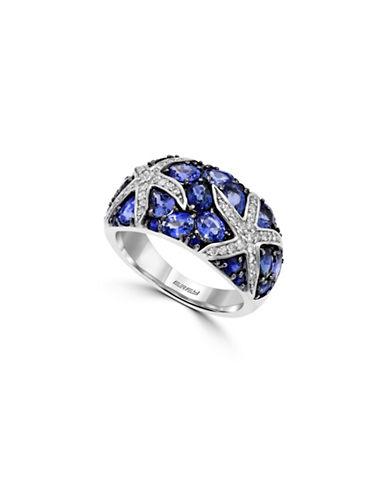 Effy 0.24 TCW Diamond and Sapphire 14K White Gold Starfish Ring-SAPPHIRE-7