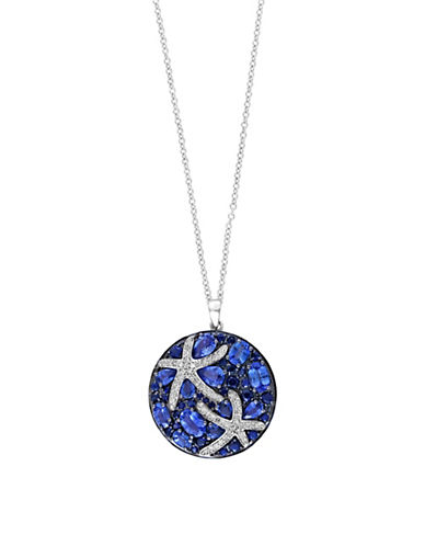 Effy 0.28 TCW Diamond and Sapphire 14K White Gold Starfish Pendant Necklace-SAPPHIRE-One Size