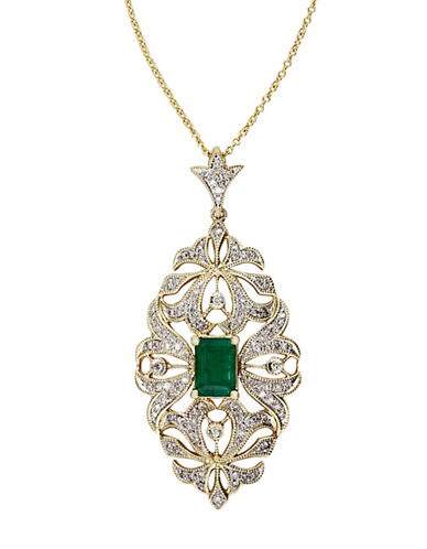 Effy 14K Yellow Gold  Diamond And Emerald Pendant-EMERALD-One Size