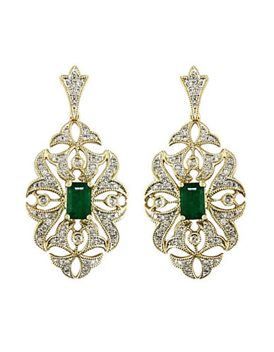 EFFY COLLECTION 14K Yellow Gold, Diamond And Emerald Earrings hi