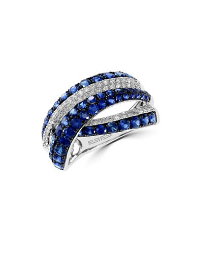 Effy 14K White Gold 0.29ct Diamond And 2.18ct Sapphire Ring-SAPPHIRE-7