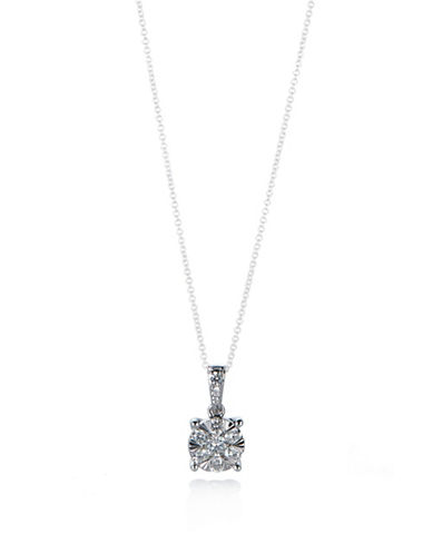Effy 14K White Gold Cluster Pendant Chain-Link Necklace with 0.46 TCW Diamonds-DIAMOND-One Size