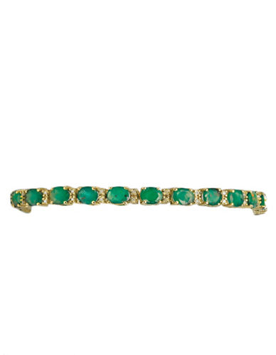 Effy 14K Yellow Gold Diamond And Emerald Bracelet-EMERALD-One Size