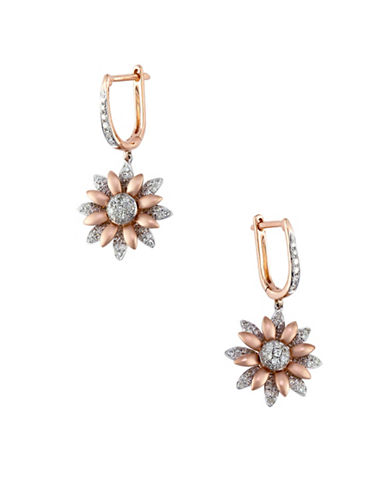 Effy 14K Two-Tone Gold and 0.65TCW Diamond Floral Drop Earrings-GOLD-One Size