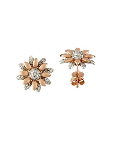 Effy 0.5 TCW Diamond, 14K Two-Tone Gold Petal Earrings-TWO TONE-One Size