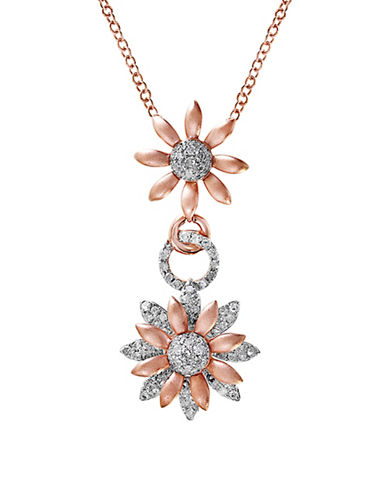 Effy 0.47 TCW Diamonds, 14K White Gold and 14K Pink Gold Floral Pendant Necklace-WHITE-One Size