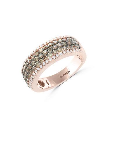 Effy 1.2 TCW White and Espresso Diamond 14K Rose Gold Studded Band Ring-ROSE GOLD-7