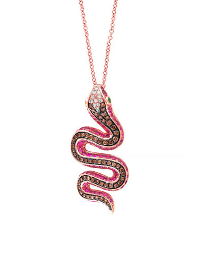 Effy 14 Karat Rose Gold Serpent Pendant Necklace-MULTI-One Size