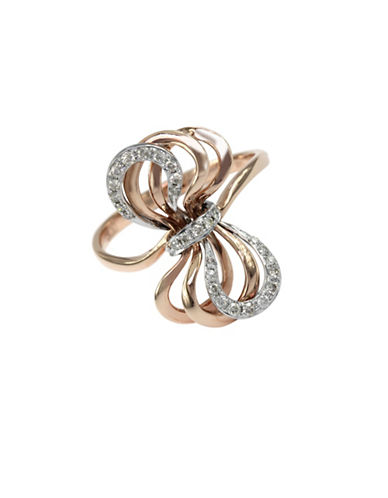 Effy 14K Rose and White Gold Bow Ring with 0.2 tcw Diamonds-TWO-TONE-7
