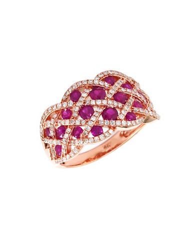 Effy 14K Rose Gold Diamond and Natural Ruby Ring-RED-7