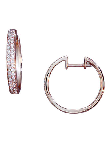 Effy Diamond Accented Hoop Earrings In 14 Kt Rose Gold-DIAMOND-One Size