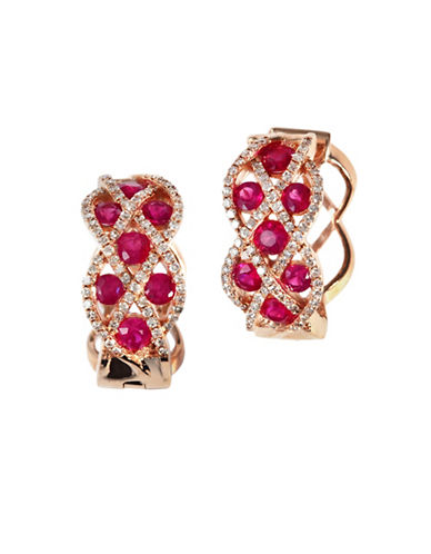 Effy 14K Rose Gold Diamond and Natural Ruby Earrings-RED-One Size
