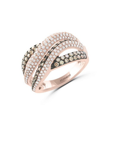 Effy 14K Rose Gold Studded Crisscross Ring with 1.25 TCW White and Espresso Diamonds-ROSE GOLD-7