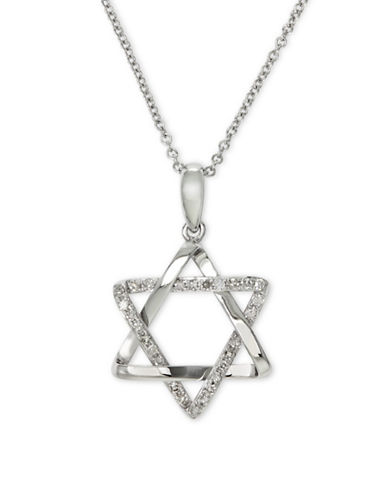 Effy 14K White Gold Star Pendant Necklace with 0.12 tcw Diamonds-DIAMOND-One Size